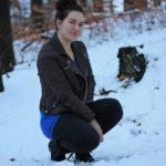winter ootd mit Lederjacke braun